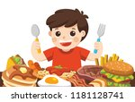 a boy with spoon and fork going ... | Shutterstock .eps vector #1181128741