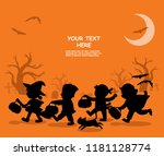 Stock vector happy halloween children dressed in halloween fancy dress to go trick or treating template for 1181128774
