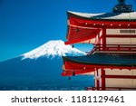 red pagoda with mt fuji on the... | Shutterstock . vector #1181129461