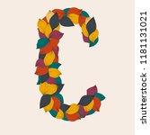 alphabet letters from leaves. ... | Shutterstock .eps vector #1181131021