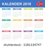 norwegian calendar for 2019.... | Shutterstock .eps vector #1181134747