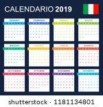 italian calendar for 2019.... | Shutterstock .eps vector #1181134801