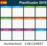 spanish planner blank for 2019. ... | Shutterstock .eps vector #1181134837