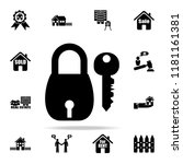 lock and key icon. real estate... | Shutterstock .eps vector #1181161381