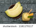 melon smoothies and melon... | Shutterstock . vector #1181170117