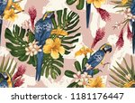 seamless tropical pattern... | Shutterstock . vector #1181176447
