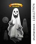 halloween  ghost  treat or... | Shutterstock .eps vector #1181177974