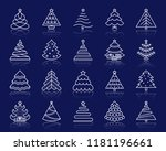 christmas tree thin line icons... | Shutterstock .eps vector #1181196661