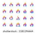 fire silhouette icons set....
