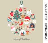 merry christmas icons. elegant... | Shutterstock .eps vector #1181196721