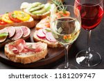 rose and white wine with... | Shutterstock . vector #1181209747