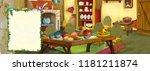 cartoon scene with old... | Shutterstock . vector #1181211874