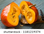 ripe orange pumpkin  cut into... | Shutterstock . vector #1181219374