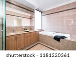 large clean bathroom with... | Shutterstock . vector #1181220361