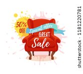 armchair colorful cartoon... | Shutterstock .eps vector #1181220781