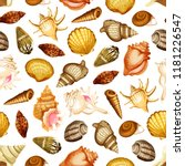 sea shell and mollusk seamless...   Shutterstock .eps vector #1181226547