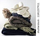 warm woolen knitted winter and... | Shutterstock . vector #1181237911