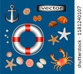 vector illustration of sea crab ... | Shutterstock .eps vector #1181240107