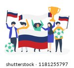 people holding football... | Shutterstock .eps vector #1181255797