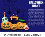 halloween background  flat... | Shutterstock .eps vector #1181258827
