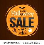 halloween sale banner on wood...   Shutterstock .eps vector #1181261617