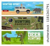 deer hunting and african safari.... | Shutterstock .eps vector #1181261791