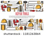 repair tools with border of... | Shutterstock .eps vector #1181263864