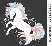 unicorn vector cute character.... | Shutterstock .eps vector #1181273824