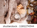 candle light pink scarf on a... | Shutterstock . vector #1181274544