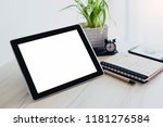 blank screen tablet with pen... | Shutterstock . vector #1181276584