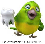 fun green bird   3d illustration   Shutterstock . vector #1181284237