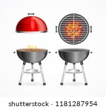 realistic detailed 3d bbq grill ... | Shutterstock .eps vector #1181287954