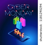 cyber monday web banner. data... | Shutterstock .eps vector #1181290294