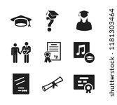 diploma icon. 9 diploma vector...   Shutterstock .eps vector #1181303464