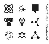 atom icon. 9 atom vector icons... | Shutterstock .eps vector #1181303497