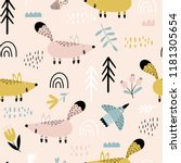 seamless pattern with cute... | Shutterstock .eps vector #1181305654