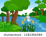 mother duck swims with her...   Shutterstock .eps vector #1181306584