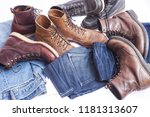 man's accessories and jeans | Shutterstock . vector #1181313607