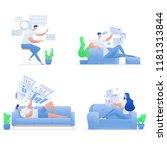 people work  surf  communicate... | Shutterstock .eps vector #1181313844