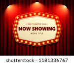 cinema theater retro sign on... | Shutterstock .eps vector #1181336767