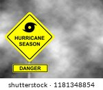 hurricane sign road. yellow... | Shutterstock .eps vector #1181348854
