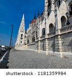 budapest near parliament street ... | Shutterstock . vector #1181359984