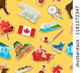canada sticker seamless pattern.... | Shutterstock .eps vector #1181372347