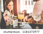happy friends drinking... | Shutterstock . vector #1181372977