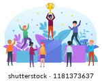 small people standing on... | Shutterstock .eps vector #1181373637