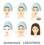 how to apply face mask... | Shutterstock .eps vector #1181376031