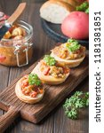 bread toasts with eggplant... | Shutterstock . vector #1181381851