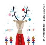 holly jolly. creative hand... | Shutterstock .eps vector #1181386414