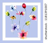 seamless pattern with tulips... | Shutterstock . vector #1181391007
