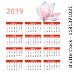 template for calendar 2019 with ... | Shutterstock . vector #1181391031